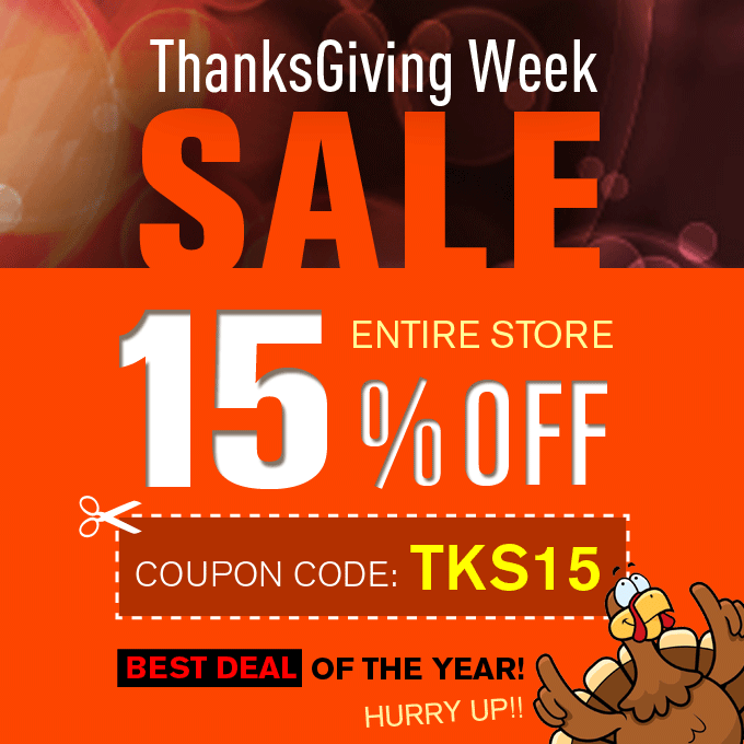 Thanksgiving Sale! 15% off entire store