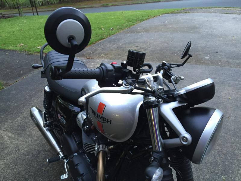 Triumph street twin with bar end mirrors