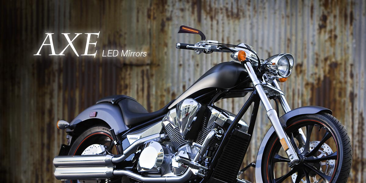 KiWAV Axe LED turn signal black motorcycle mirrors for Harley Davidson