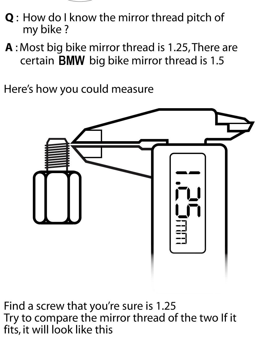 How to measure mirror thread?