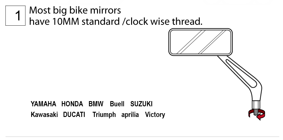 Most big bike mirrors have 10mm standard / clock wise thread