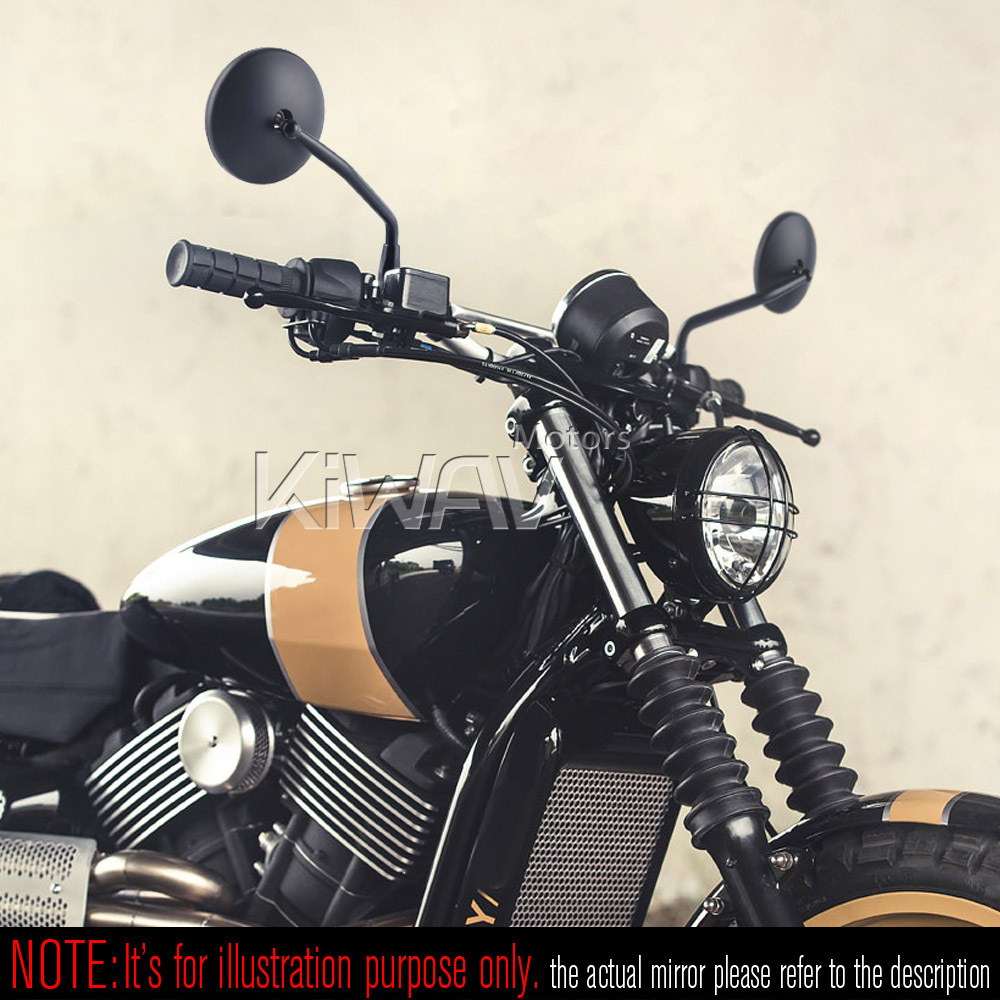 Eclipse Round retro style mirrors black for TRIUMPH SCRAMBLER CARB