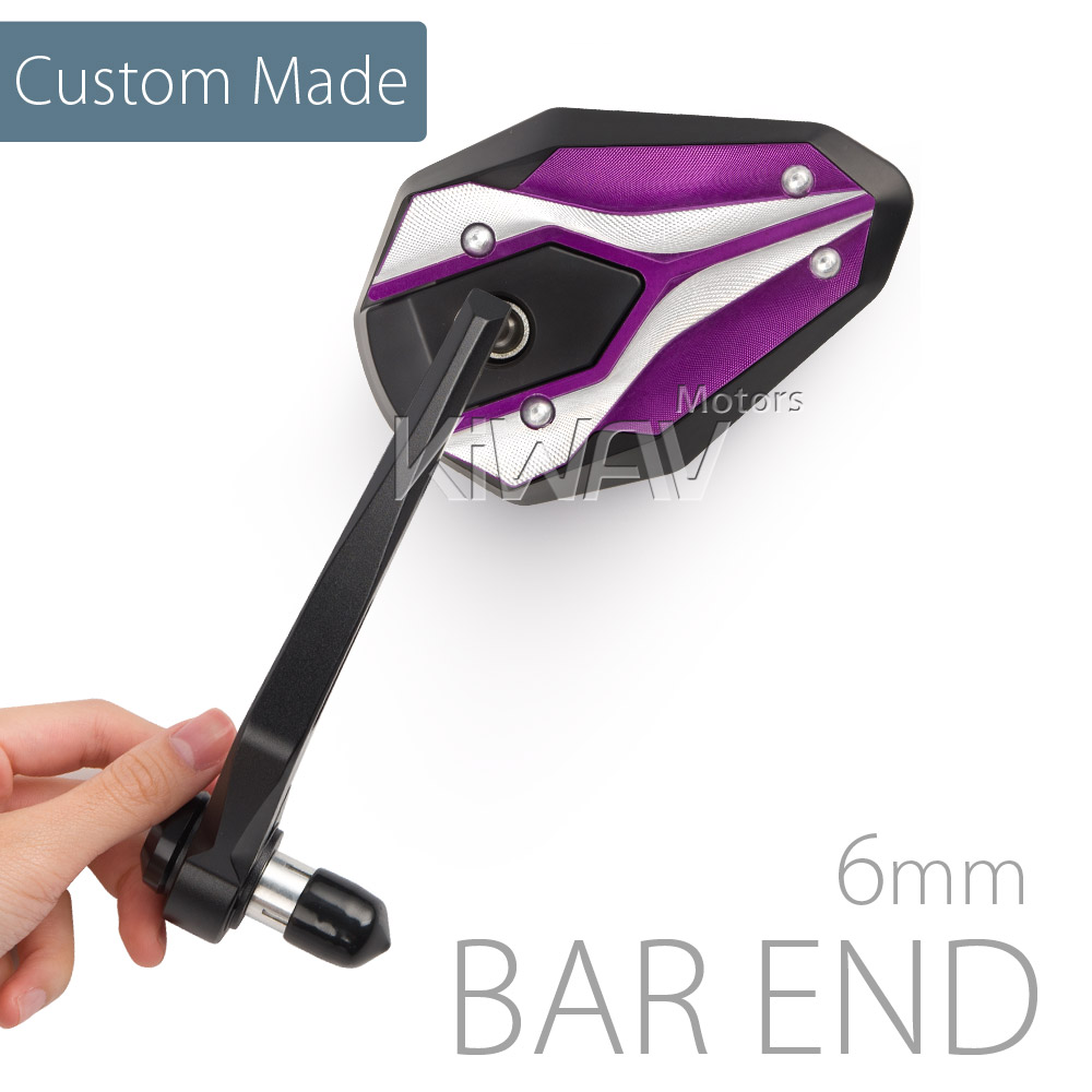 [Custom Made] Viper II purple bar end mirrors for Triumph air-cooled  motorcycles