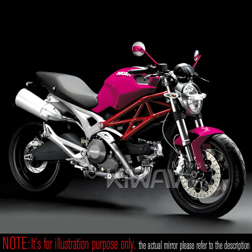 Mirrors : Missie pink-carbon white for M10 metric bike & Harley Davidson