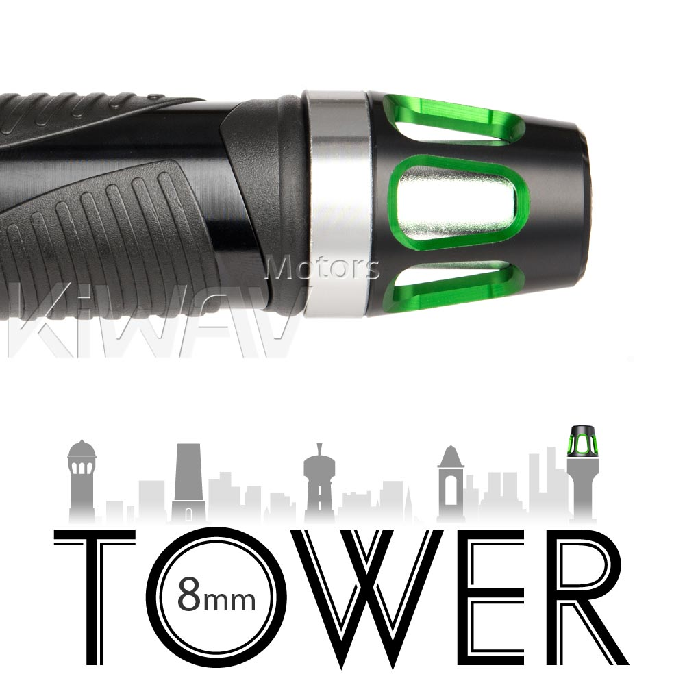 bar ends Tower green with silver base