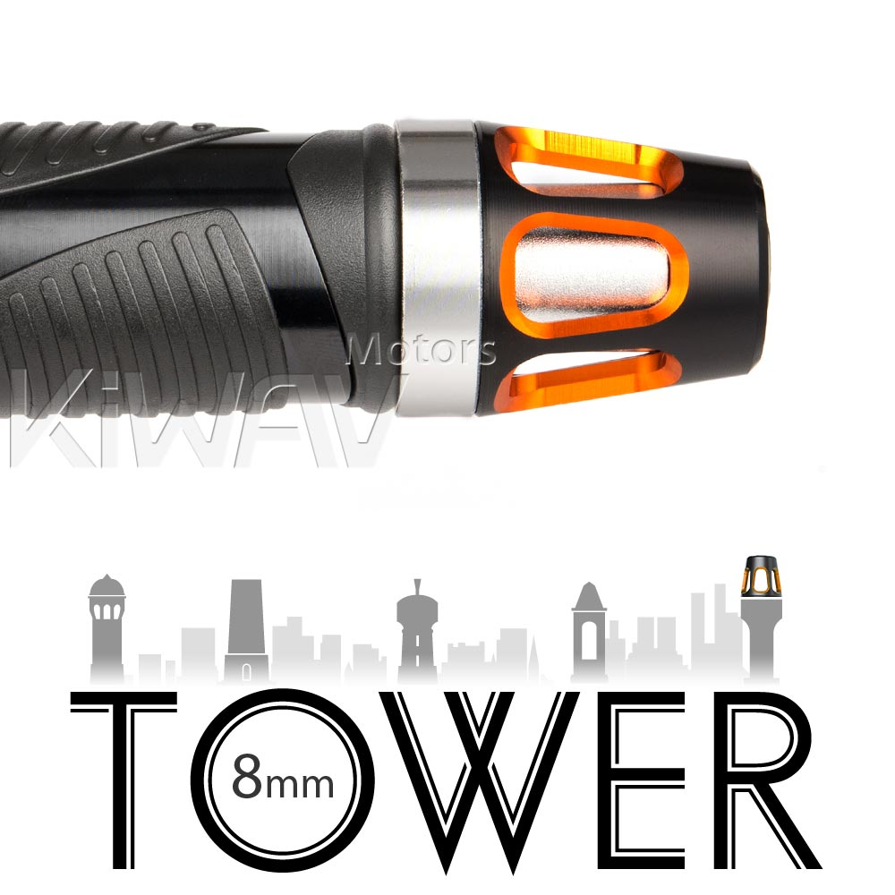 bar ends Tower orange with silver base