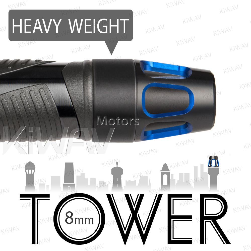 heavy weights bar ends Tower blue w/ black base