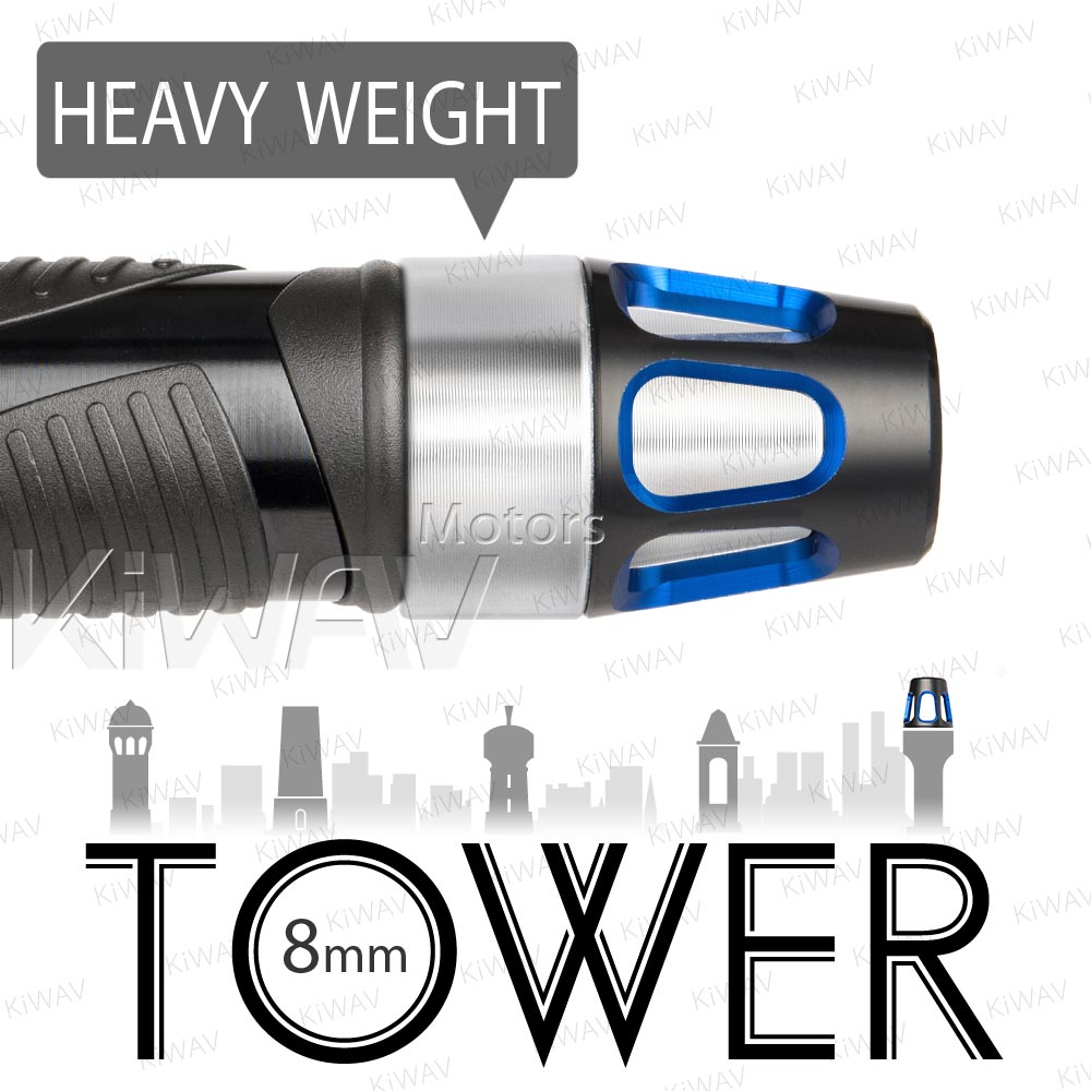 heavy weights bar ends Tower blue w/ silver base