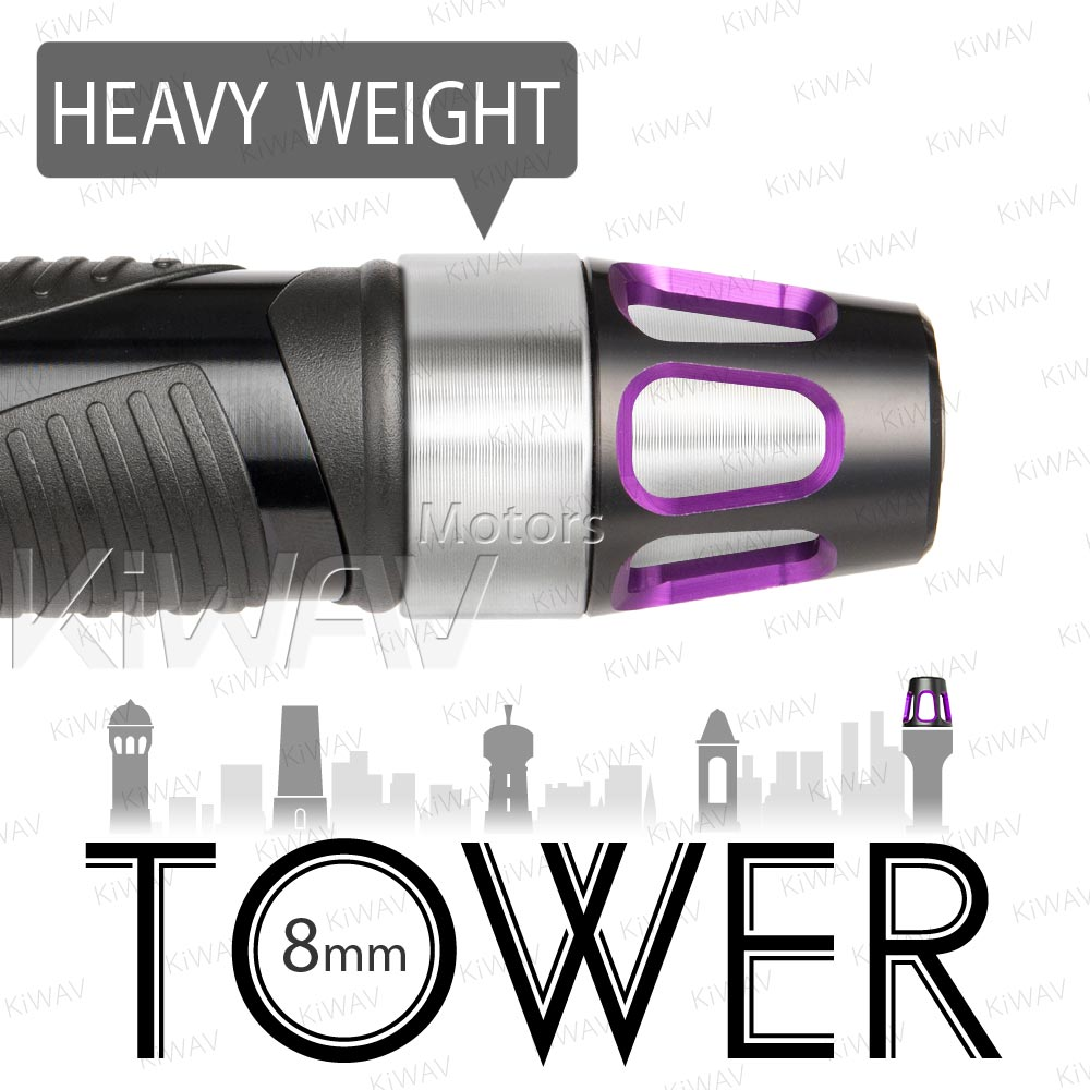 heavy weights bar ends Tower purple w/ silver base