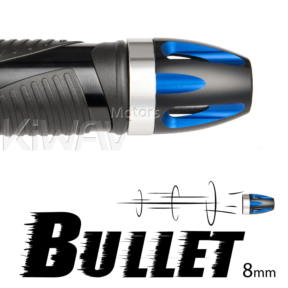 bar ends Bullet blue with silver base