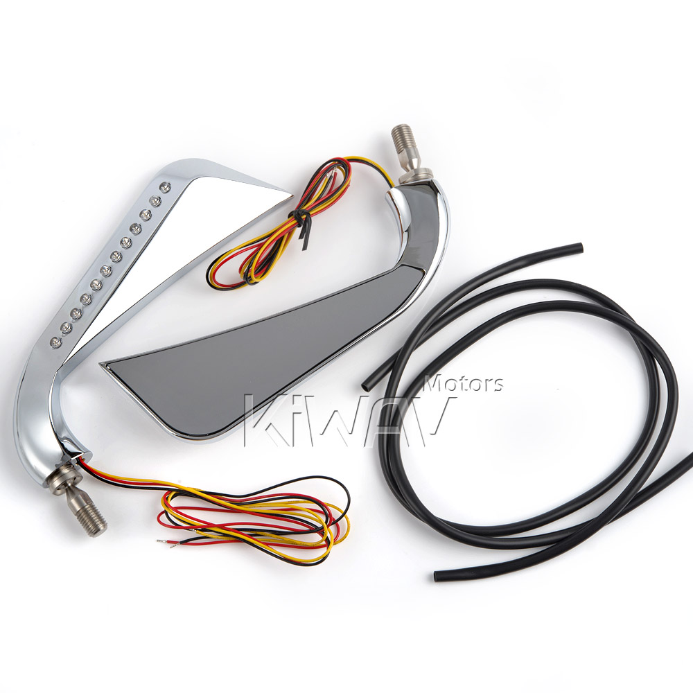 Axe Chrome Led Mirrors For Motorcycles Kiwav Motors Buell Motorcycle Turn Signal Wiring Diagram