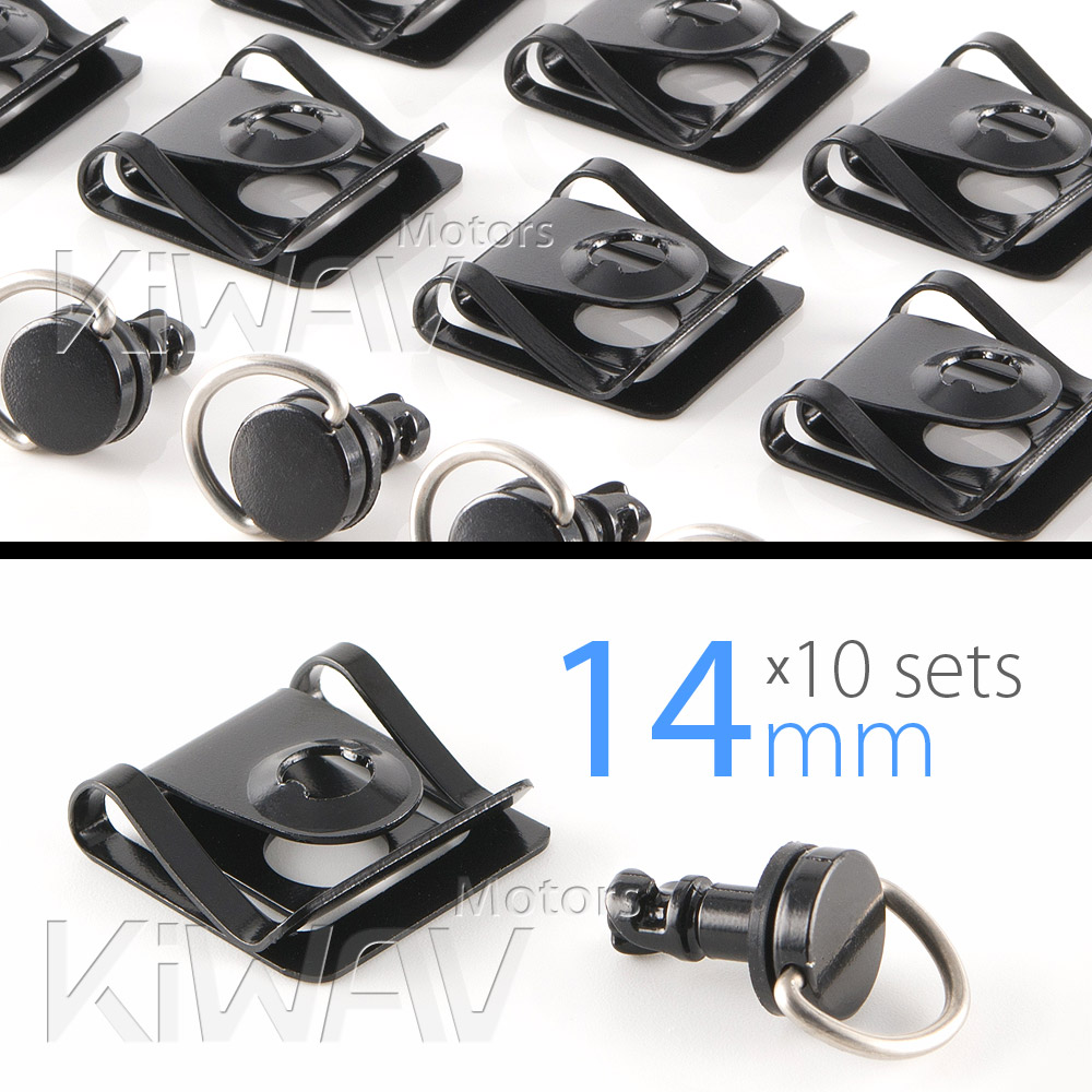 Magazi 1/4 turn Quick Release Fastener Motorcycle Scooter Fairing Clip on fairing fasteners 14mm 10 Pieces Black