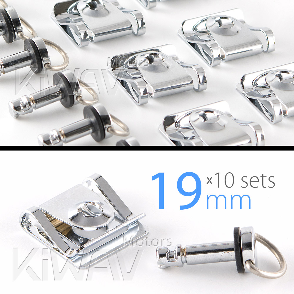 Magazi 1/4 turn Quick Release Fastener Motorcycle Scooter Fairing Clip on fairing fasteners 19mm 10 Pieces chrome