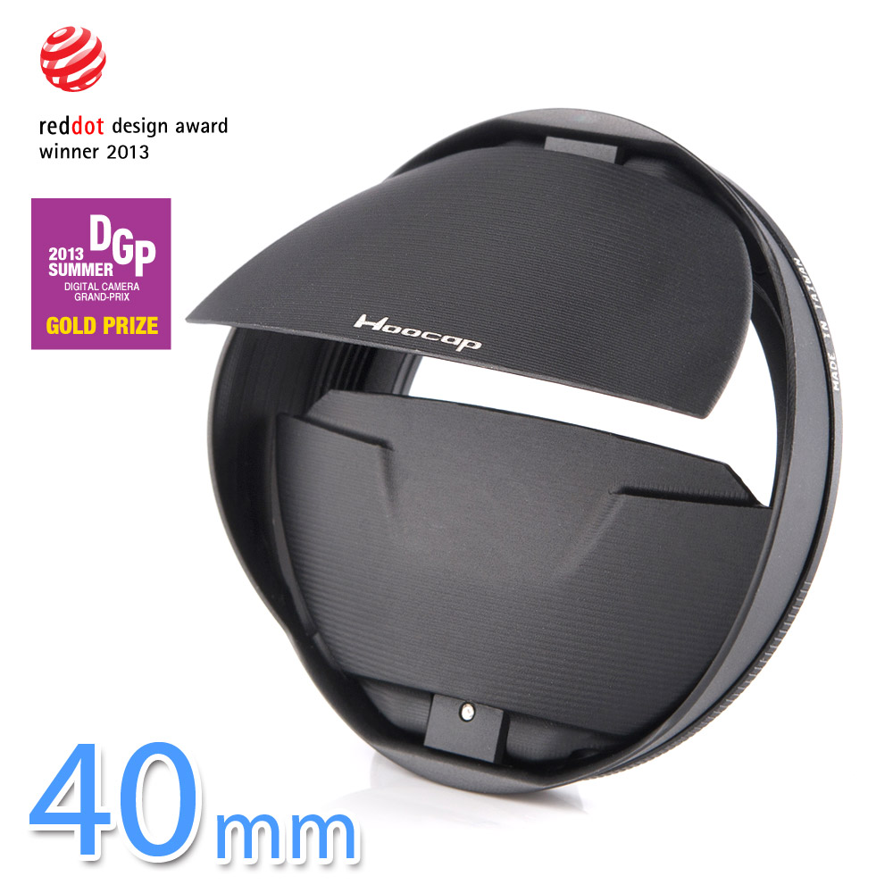 Hoocap black lens cap + hood 2in1 for filter size 40mm