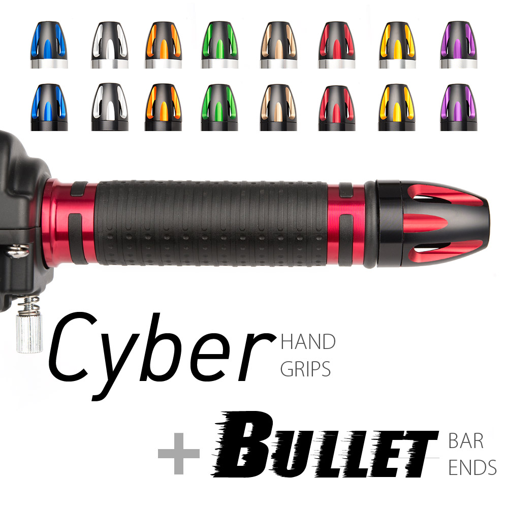 Magazi motorcycle Cyber grips red with Bullet bar ends