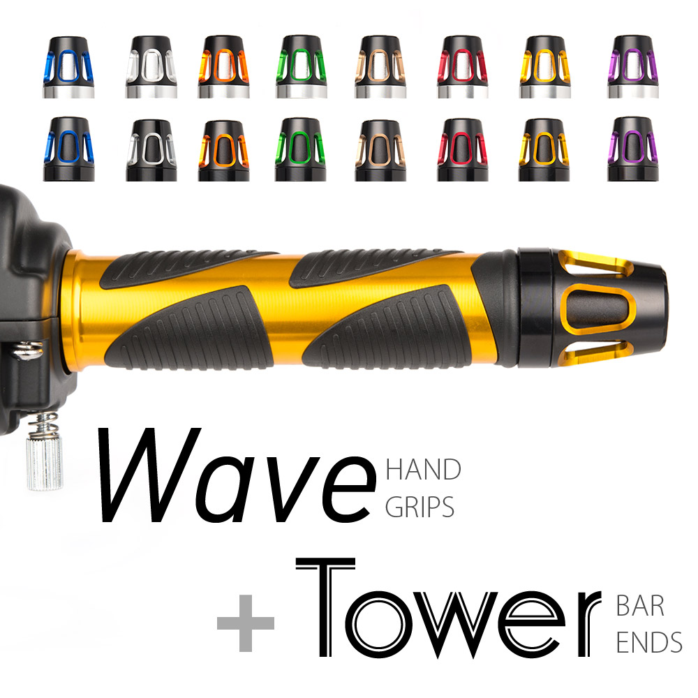 Magazi motorcycle Wave grips gold with Tower bar ends