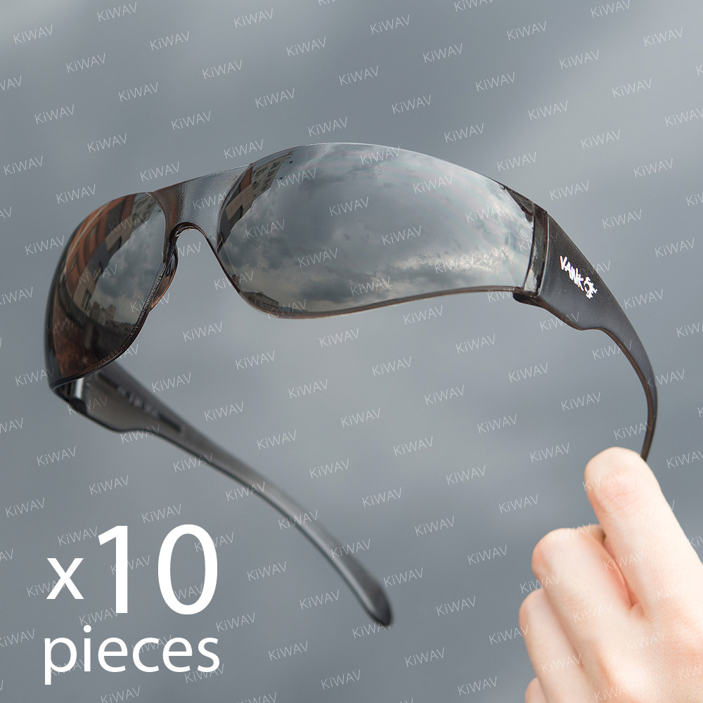 Contemporary safety glasses VA780, black frame, smoke lens 10pcs VAWiK eye protection,Safety glasses, protective eyewear, safety spectacles, safety eyewear ( 10-Pack ),outdoor sports eyewear ,protective sports ,eyewear ,for workout and casual wear ,bicyc