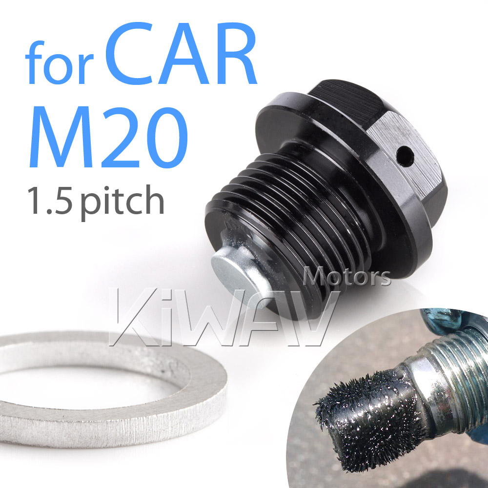 Magazi magnetic oil drain plug black M20*P1.5 fit most SUBARU