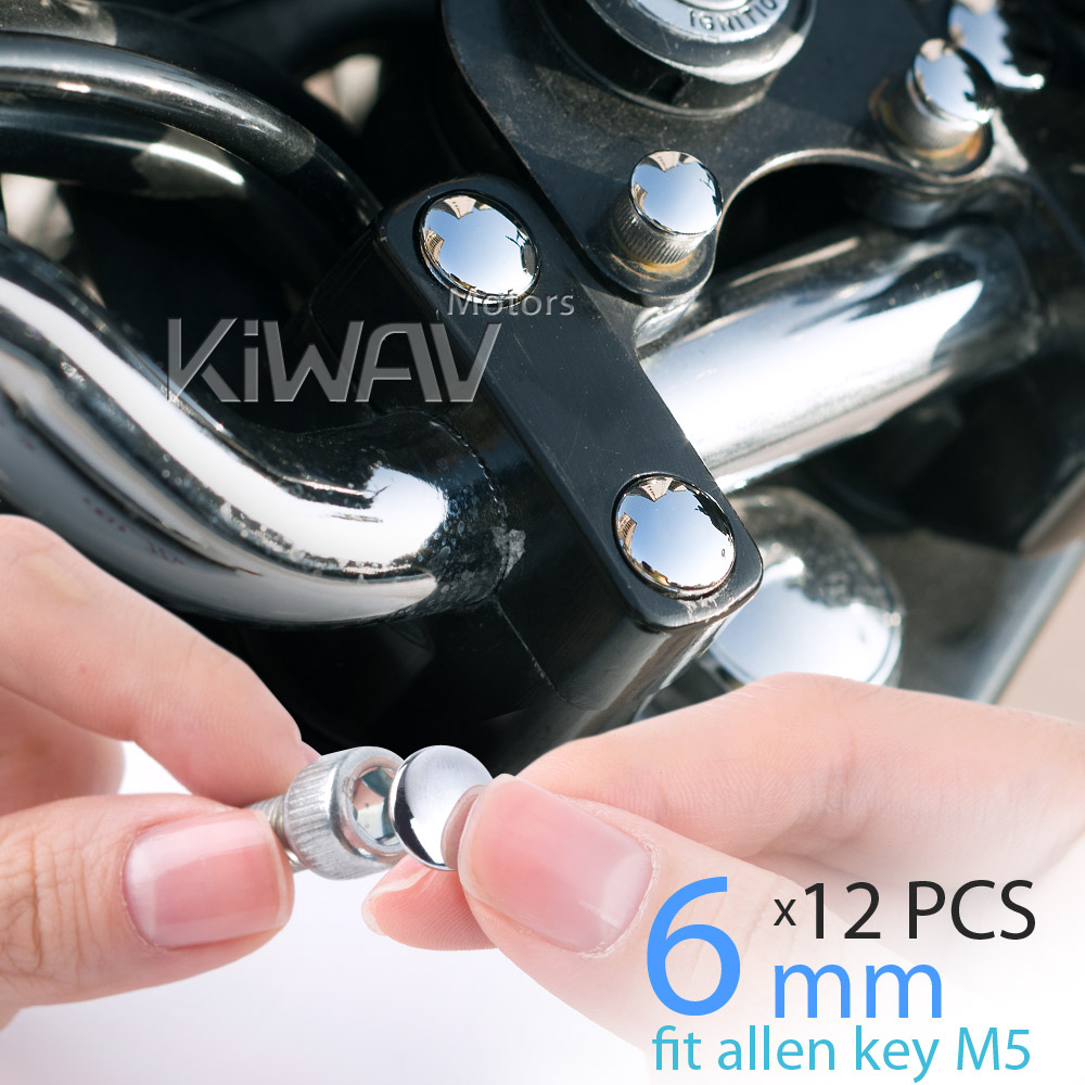 KiWAV motorcycle round bolt cap screw cover plug chrome for 6mm thread allen head bolts, ie M5 allen key