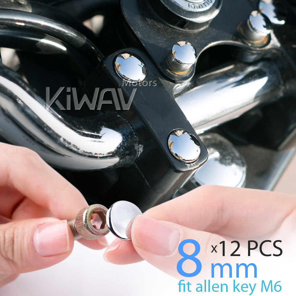 KiWAV motorcycle round bolt cap screw cover plug chrome for 8mm thread allen head bolts, ie M6 allen key
