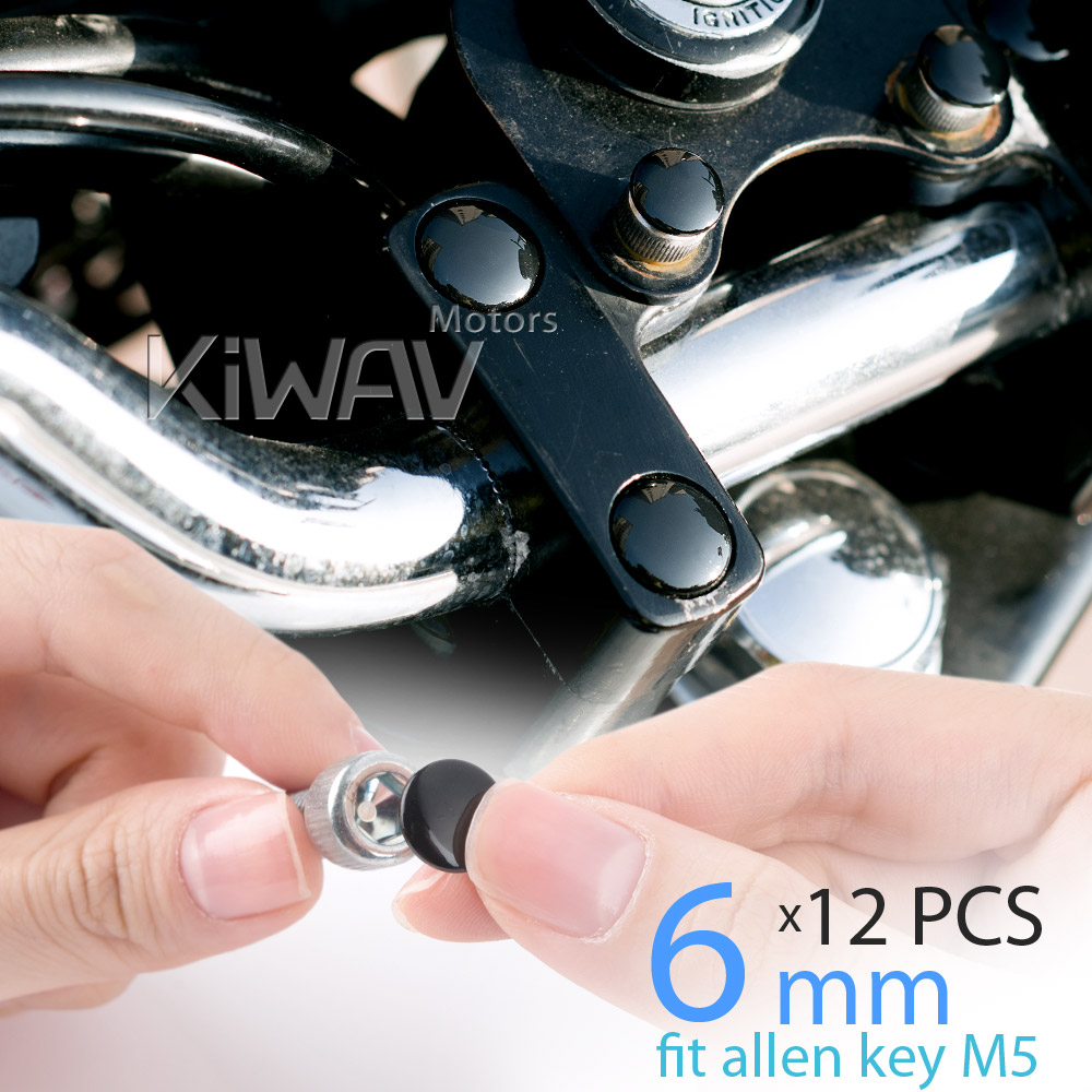 KiWAV motorcycle round bolt cap screw cover plug black for 6mm thread allen head bolts, ie M5 allen key