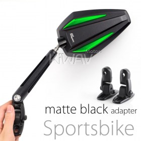 motorcycle mirrors Achilles green fairing mount w/ matte black adapter for Sportbike