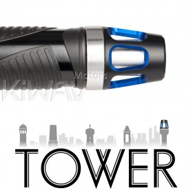 Magazi motorcycle bar ends Tower blue with silver base fit 7/8