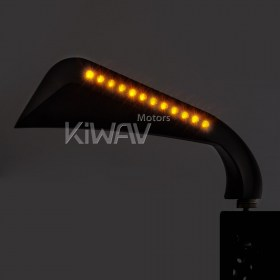 "KiWAV Axe led turn signal black motorcycle mirrors for Harley Davidson Dyna, Softail, Touring, Sportster, Custom, vehicle, glide, switchback, breakout, cross bones, fat boy, deluxe Road King, Springer, Night Train, Heritage, rearview mirrors, 5/16"","