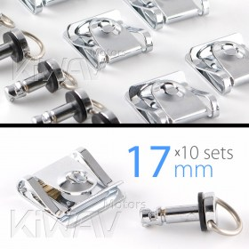 Magazi 1/4 turn Quick Release Fastener Motorcycle Scooter Fairing Clip on fairing fasteners 17mm 10 Pieces chrome