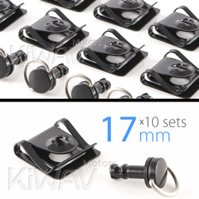 Magazi 1/4 turn Quick Release Fastener Motorcycle Scooter Fairing Clip on 17mm 10 Pieces Black