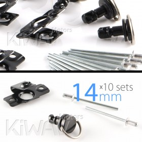 Magazi 1/4 turn Quick Release Fastener Motorcycle Scooter Fairing rivet on 14mm 10 Pieces Black