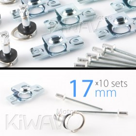 Magazi 1/4 turn Quick Release Fastener Motorcycle Scooter Fairing rivet on 17mm 10 Pieces Chrome