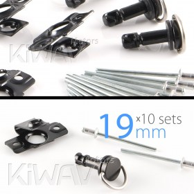 Magazi 1/4 turn Quick Release Fastener Motorcycle Scooter Fairing rivet on 19mm 10 Pieces Black