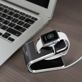 VAWiK CNC aluminum Apple WATCH charger stand black,cable management, rest and charge, neatly design,