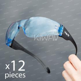Contemporary safety glasses VA780, black frame, blue lens 12 pcs VAWiK eye protection,Safety glasses, protective eyewear, safety spectacles, safety eyewear ( 10-Pack ),outdoor sports eyewear  protective sports eyewear ,for workout and casual wear ,bicycl