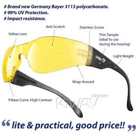 Contemporary safety glasses VA780, black frame, yellow lens 10 pcs VAWiK eye protection,Safety glasses, protective eyewear, safety spectacles, safety eyewear ( 10-Pack ),outdoor sports eyewear  protective sports eyewear ,for workout and casual wear ,bicy
