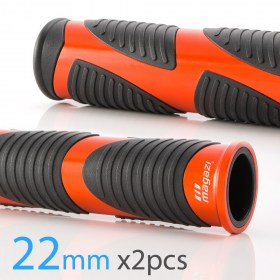 Magazi Wave motorcycle grips anodized aluminum orange trim 22mm 2pcs