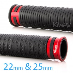 Magazi Cyber grips anodized aluminum red trim a pair 25mm 22mm universal fit 7/8
